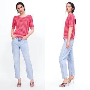 Zara Knit Pink Checkered Sweater with Striped Hem